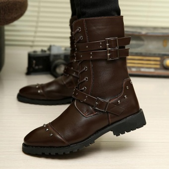 Genuine Leather Boots Men Military Desert Boot Shoes Men WinterBoots Boots martin boots Motorcycle boots (black) - intl Price Philippines