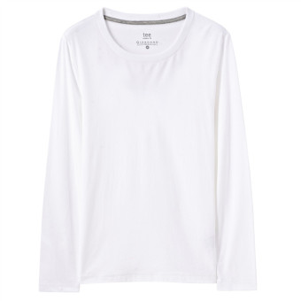 Giordano brushed men New style round neck long-sleeved Top T-shirt shirt (01 logo white)