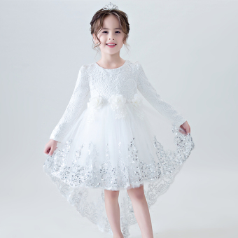 Girls long-sleeved dress (White kfq26)