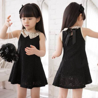 Girls' Korean-style Lace Dress (Black lace)