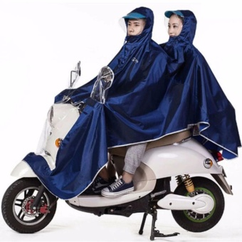 GMY Universal Motorcycle Double Rain Coat - Navy Blue