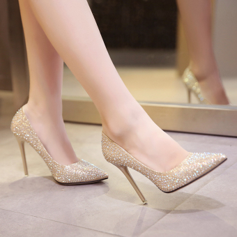 Gold female thin heeled pointed wedding shoes high-heeled shoes (Gold 7 CM)