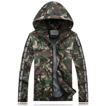 Grandwish Men Camouflage Coats Lightweight Jackets Hoodies Outside Casual Coat M-3XL (Green) - intl