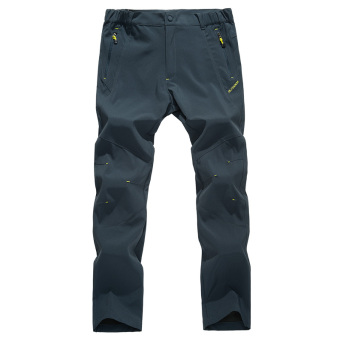 Guduzhe outdoor single layer thin soft case quick-drying pants trousers pants (Men dark gray)