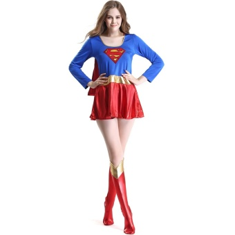 Halloween Women Cosplay Superwoman Dresses Costume Ladies Cospaly Party Superhero Dress Sexy Fancy Costume For Adult - intl
