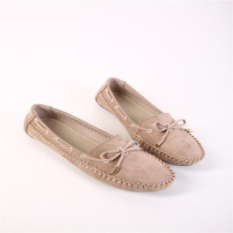 Hang-Qiao Women Comfortable Soft Loafers Bowknot Flat Shoes (Apricot) - intl