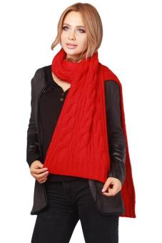 Hang-Qiao Women Winter Long Scarf Warm Knit Cowl Wrap Shawl Red Price Philippines