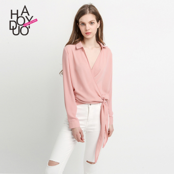 Haoduoyi2017 fashion solid color autumn New style long-sleeved shirt