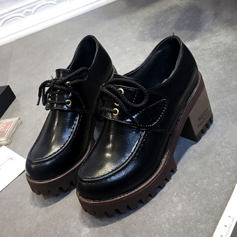 Harajuku British style autumn New style thick with high-heeled shoes retro small shoes Price Philippines