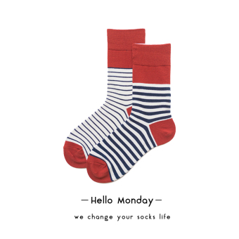 Hello Spell color thick striped Spell color socks cotton socks