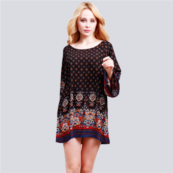 HengSong Ladies Women's Bohemian Vintage Printed Ethnic Style Loose Casual Tunic Dress Black