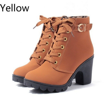 HengSong Women Thick PU Leather High Heel Martin Ankle Zipper Boots Yellow