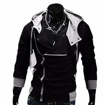 Hequ Aliexpress explosion of Assassin s Creed sweater obliquezipper hooded jacket men s W20 Black - intl