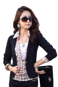 Hequ Business Suit Jacket Lady Coat Slim Blazer (Black)