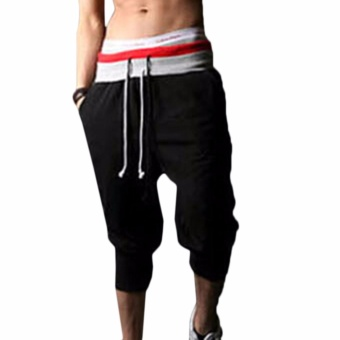 Hequ Men Sports Pants Harem Training Dance Baggy Jogger CasualTrousers Shorts Slacks Black - intl