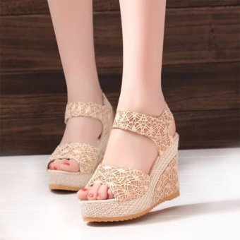 High Heel Lady Sandals Shoes Women Platform Peep Toe Wedge SandalsSexy Shoes (Beige) - intl Price Philippines