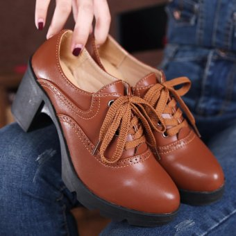 High Heel Women Lace-up Leather Shoes Platform Pumps Ladies ThickHeel Work Shoes (Brown) - intl
