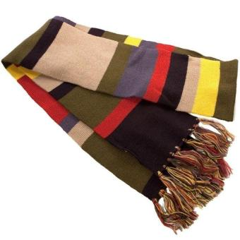 High Quality Doctor Who Scarf Cosplay Tom Baker Striped and Police Box Blue Scarf Fashion Hat Men Women Autumn Winter Khaki - intl