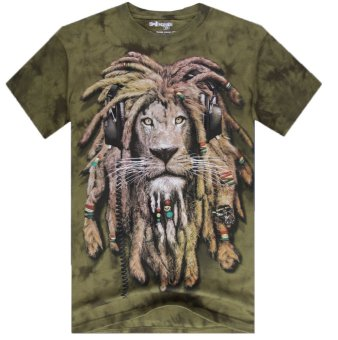 High quality Man Fashion Lion 3D Short Sleeve Cotton Tie-dyedO-neck Animal Printed T Shirt