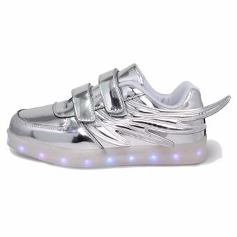 Hk Bubugao 1133 Deluxe Fashion LED Lightning Boy's Sneaker Shoes (Silver)