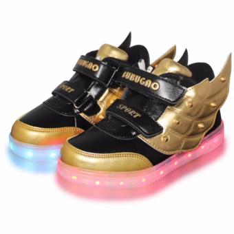 Hk Bubugao 35151A Deluxe Fashion Sports Dancing LED Lightning Boy's Sneakers Shoes (Black/Gold)