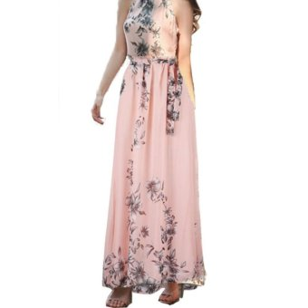 HOLA Summer Women's Floral Bohemian Print Chiffon Long Dress BeachDress(Pink) - intl