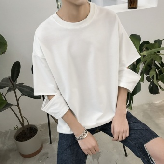 Hong Kong Summer Wind Hole Sleeve Short Sleeved Trend ofPersonality Korean Male Students Seven Loose Bat Sleeve T-shirt -intl Price Philippines