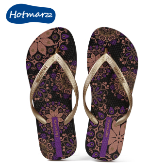 Hotmarzz cool female flat heel non-slip slippers sandals slippers (Purple)