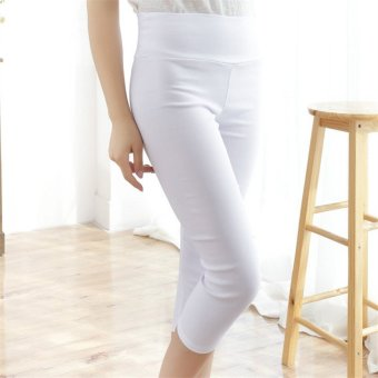 Hotyv Korean Fashion Women Elastic High Waist Capri Pants HPT017 White