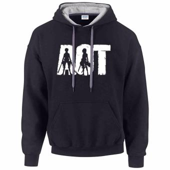 iGPrints AOT Attack On Titan Anime Disstressed Logo Contrast Hoodie Jacket Black Grey