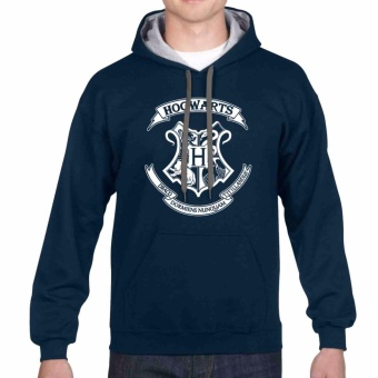 iGPrints HOGWARTS School of Witchcraft and Wizardry Contrast Hoodie Jacket Navy Blue Grey