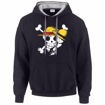 iGPrints One Piece Monkey D Luffy Disstressed Logo Design Contrast Hoodie Jacket Black Grey
