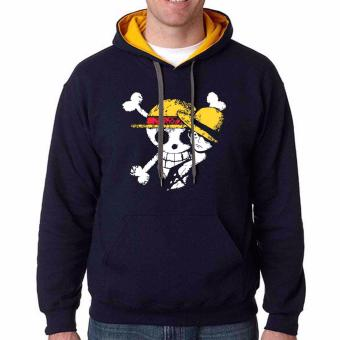 iGPrints One Piece Monkey D Luffy Disstressed Logo Design Contrast Hoodie Jacket Navy Blue Gold
