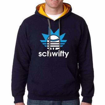 iGPrints SCHWIFTY Rick And Morty Addidas Parody Design Contrast Hoodie Jacket Navy Blue Gold
