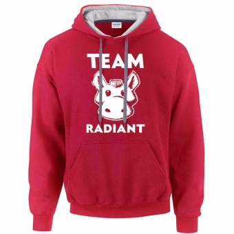 iGPrints TEAM RADIANT DOTA 2 Fan Inspired Design Contrast Hoodie Jacket Red Grey