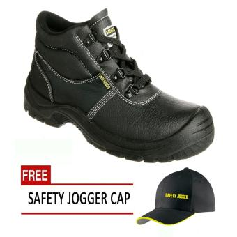 Safety Jogger Safetyboy S1P High Cut Men Safety Shoes Footwear Steel Toe (Black) with Free Safety Jogger Cap Price Philippines