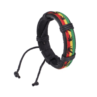 Harga BolehDeals Leather Bracelet Wristband Jamaica Reggae Hiphop Style with Hemp Leaves