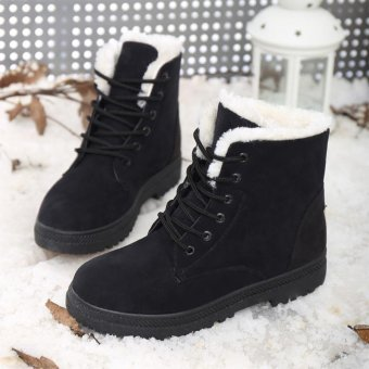 Harga Fashion Women boots Winter boots Warm Snow boots (Black)