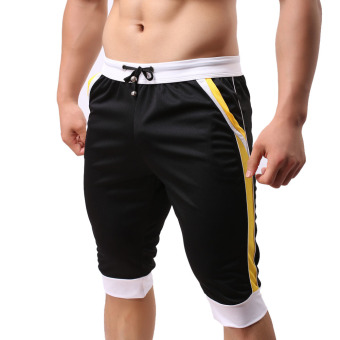 Harga Men Fashion Fitness Gym Shorts Black