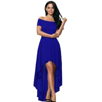 Harga EOZY Trendy Women Girl's Solid Color Off Shoulder Short Sleeve Maxi Dress Korean Style Lady Party Wedding Evening Gown Dress Tuxedo (Blue) - intl