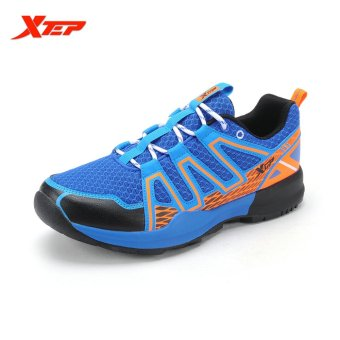 Harga XTEP Mens Running Shoes Breathable Men Athletic Sports Shoes (Blue)