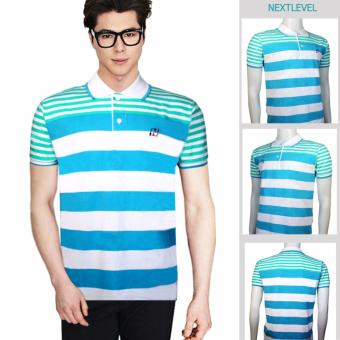 Harga NEXTLEVEL Classic Performance Short Sleeve Stripe Polo Shirt (SMALL)(White-Blue-Green)