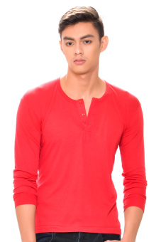 Harga Tex-Cock Long Sleeves Camisa de Chino (Red)