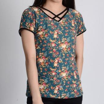 Harga Redgirl Short Sleeves Blouse Rgt12-0413 (Dk.Teal/Black)