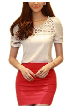 Harga Moonar Short Sleeve Lace Hollow Out Shirt Blouse White
