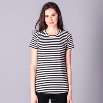 Harga No Apologies Knitted Stripes S/S Blouse (White/Black)