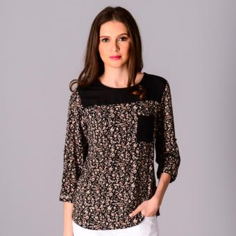 Harga Redgirl Quarter Sleeves Woven Blouse RLT04-3007 (Black/Black)