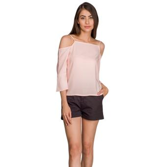 Harga Plains & Prints Narius Short Sleeves Top (Blush)