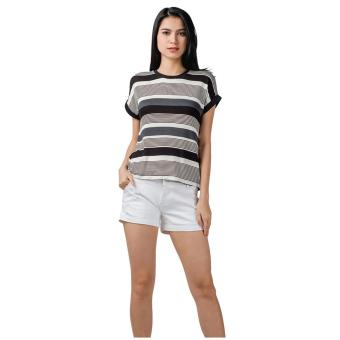 Harga Plains & Prints Pipe Short Sleeves Top (Black)
