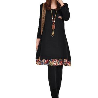 Hang-Qiao Women Thick Dress Long Sleeve Floral Splice Black Price Philippines